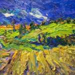 Leitzkau, Felder im Juli, 2012, 80 x 120 cm, Öl auf Leinwand