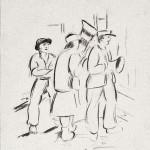 Dorfmusiker, 1928, Bleistift, 33,5 x 23,7 cm